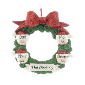 Personalized Glitter Bow Button Wreath Family 4 Christmas Ornament