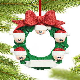 Glitter Bow Button Wreath Family 5 Christmas Ornament