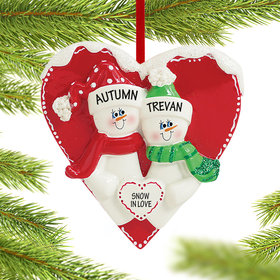 Personalized Snow Sweethearts Christmas Ornament