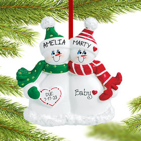 Personalized Expecting Snow Couple Christmas Ornament