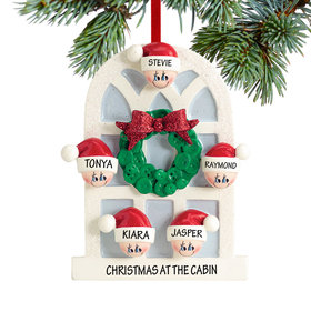 Personalized Christmas Window Family of 5 Christmas Ornament