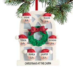 Personalized Christmas Window Family of 6 Christmas Ornament