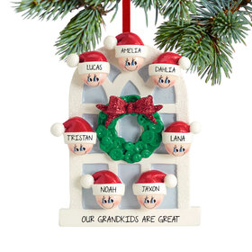 Personalized Christmas Window Family of 7 Christmas Ornament