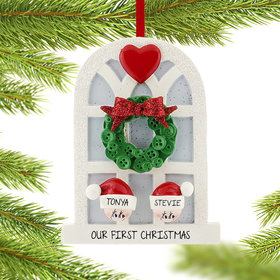 Personalized Christmas Window Family of 2 Christmas Ornament