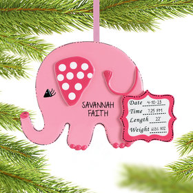 Personalized Baby Girl Pink Elephant Christmas Ornament