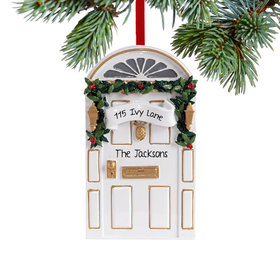 Personalized White Door Christmas Ornament