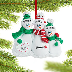 Personalized Pregnant Snowman Family of 3 Christmas Ornament