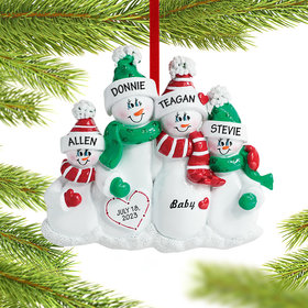 Personalized Pregnant Snowman Family of 4 Christmas Ornament