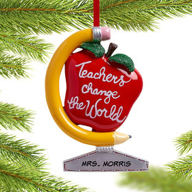 Personalized Teachers Change the World Christmas Ornament