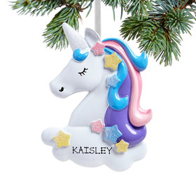 Personalized Pretty Pastel Unicorn Christmas Ornament