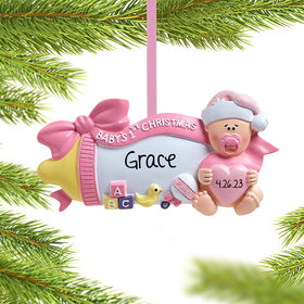 Personalized Baby's 1st Christmas Baby Bottle (Pink) Christmas Ornament