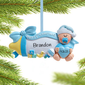 Personalized Baby's First Christmas Baby Bottle (Blue) Christmas Ornament