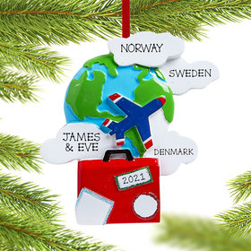 Personalized World Travelers Christmas Ornament