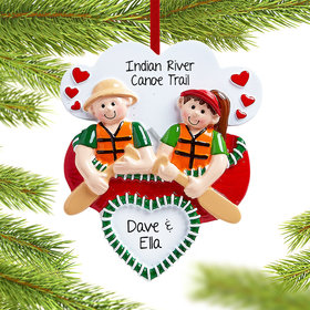 Personalized Canoe Couple Christmas Ornament