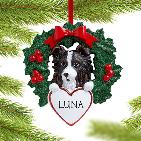 Personalized Personalized Personalized Australian Shepherd Dog with Wreath Christmas Ornament