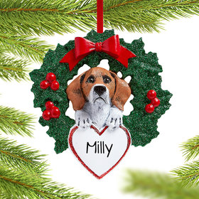 Personalized Beagle Dog with Wreath Christmas Ornament