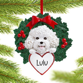 Personalized Bichon Dog with Wreath Christmas Ornament