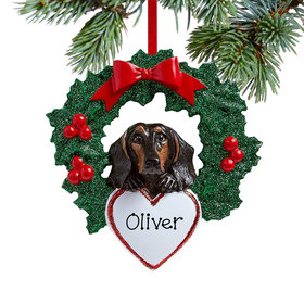 Personalized Black Dachshund Dog with Wreath Christmas Ornament