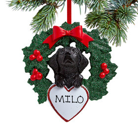Personalized Black Lab Dog with Wreath Christmas Ornament
