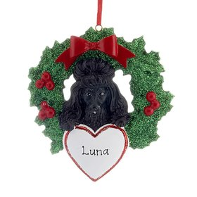 Personalized Black Poodle Dog with Wreath Christmas Ornament
