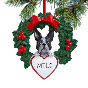 Personalized Boston Terrier Dog with Wreath Christmas Ornament