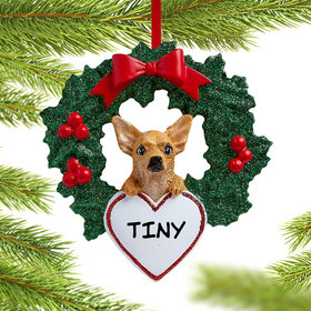 Personalized Chihuahua Dog with Wreath Christmas Ornament