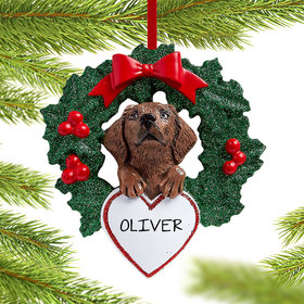 Personalized Chocolate Lab Dog with Wreath Christmas Ornament