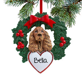 Personalized Cocker Spaniel Dog with Wreath Christmas Ornament