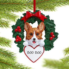 Personalized Corgi Dog with Wreath Christmas Ornament
