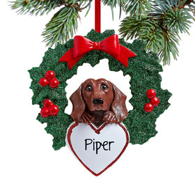 Personalized Dachshund Dog with Wreath Christmas Ornament