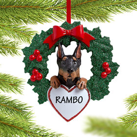 Personalized Doberman Pinscher Dog with Wreath Christmas Ornament