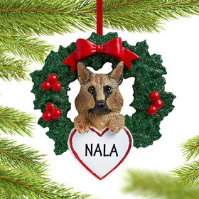 Personalized German Shepherd Dog with Wreath Christmas Ornament