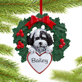 Personalized Havanese Dog with Wreath Christmas Ornament