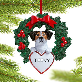 Personalized Jack Russell Dog with Wreath Christmas Ornament