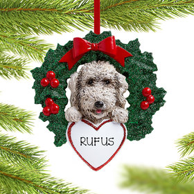 Personalized Labradoodle Dog with Wreath Christmas Ornament