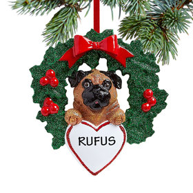 Personalized Pug Dog with Wreath Christmas Ornament