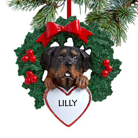 Personalized Rottweiler Dog with Wreath Christmas Ornament