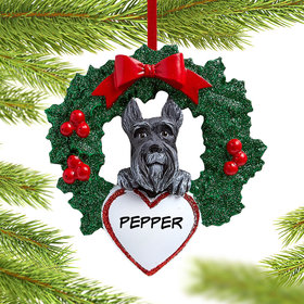 Personalized Schnauzer Dog with Wreath Christmas Ornament