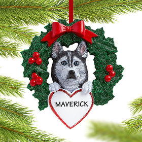 Personalized Siberian Husky Dog with Wreath Christmas Ornament