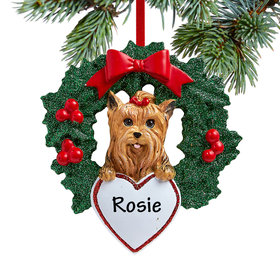 Personalized Yorkshire Terrier Dog with Wreath Christmas Ornament