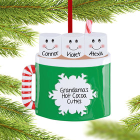 Personalized Marshmallow Mug Family of 3 Christmas Ornament