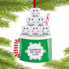 Personalized Marshmallow Mug Family of 6 Christmas Ornament