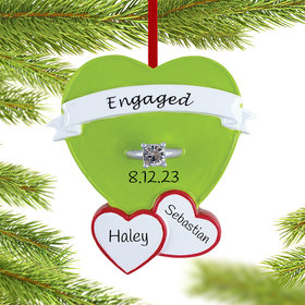 Personalized Engagement Ring in Heart Christmas Ornament