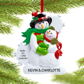 Personalized Baby it's Cold Outside Snowman Couple Christmas Ornament