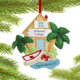 Personalized Beach Scene Christmas Ornament