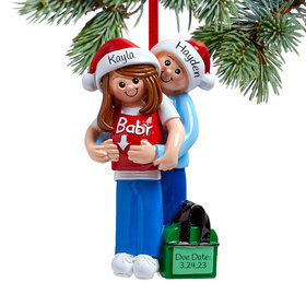 Personalized Baby on the Way Couple Christmas Ornament