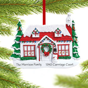 Personalized Red Roof House with Snowman Christmas Ornament