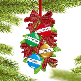 Personalized Christmas Ball Family of 4 Christmas Ornament