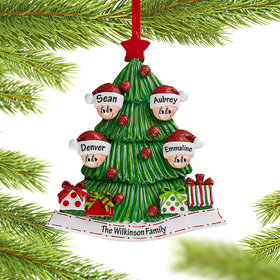 Personalized Tree Family of 4 Christmas Christmas Ornament