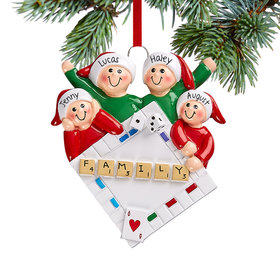 Personalized Game Night Family of 4 Christmas Ornament